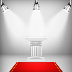 Illuminated Ionic Column With Red Carpet