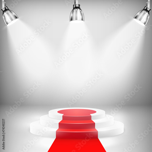 Fotobehang Licht, schaduw Illuminated Podium With Red Carpet