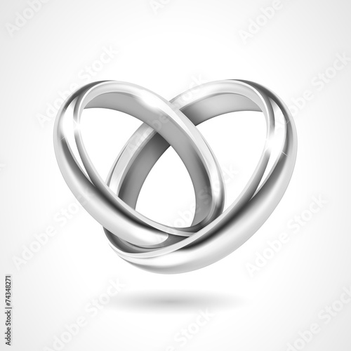 Silver Rings Isolated on White Background - 74348271