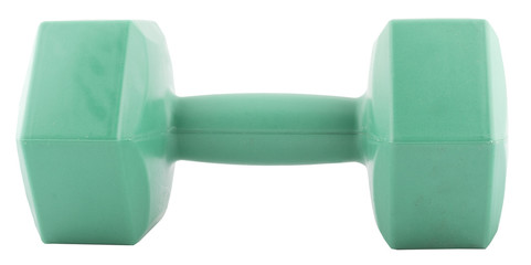 green dumbbells isolated