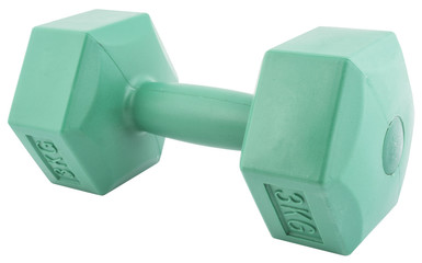 Green dumbbell isolated