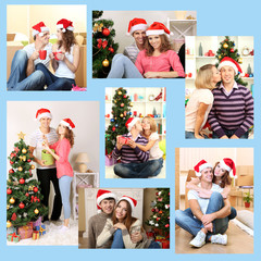 Christmas collage. Young happy people