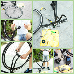 Repairing bicycle collage