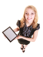 Businesswoman showing copy space on tablet touchpad