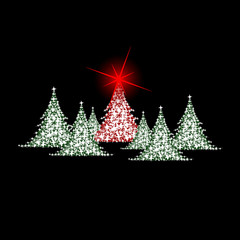 christmas colored trees with red star