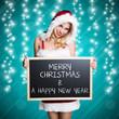 Weihnachtsfrau mit Kreidetafel