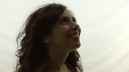 Vintage girl silhouette smile future MS LT