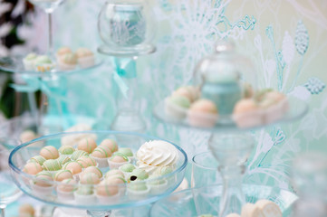 Stylish sweet table on wedding