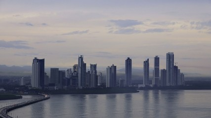 Panama City Buildings Traffic Cars Skyline At Dawn 4K