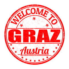 Welcome to Graz, Austria stamp