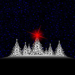 christmas trees with red star and sky