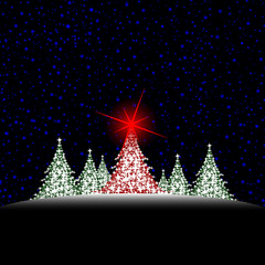 christmas colored trees with red star  and sky