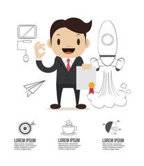 Vector flat start up businessman