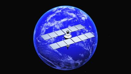 地球と人工衛星