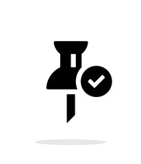 Mapping check pin icon on white background.