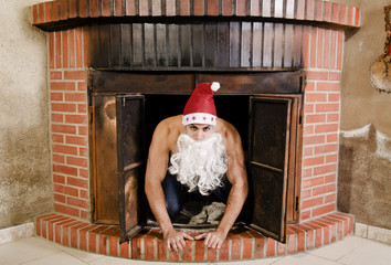 Sexy Santa is in the chimney