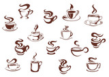 Fototapety Assorted brown cups of hot coffee