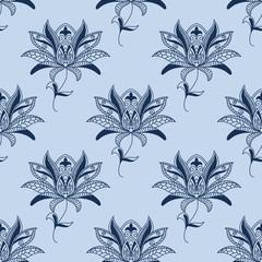 Blue paisley floral pattern