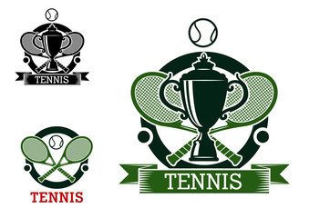 Tennis tournament emblems with crossed rackets