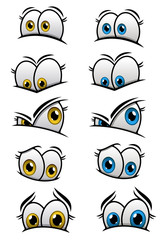 Cartooned eyes with different emotions
