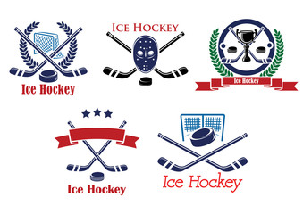 Ice Hockey heraldic emblems and symbols