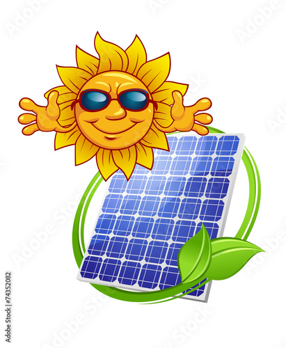 Solar panel with cartoon sun
