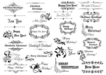 Calligraphic Christmas frames and borders