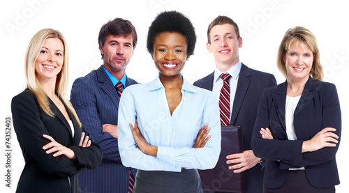canvas print picture African woman and business team.