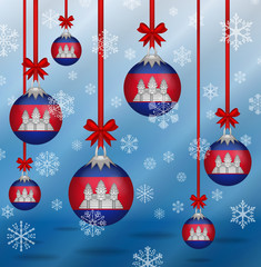 Christmas background flags Cambodia