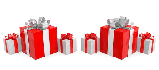 Row of red and white Christmas gift boxes with shiny ribbons