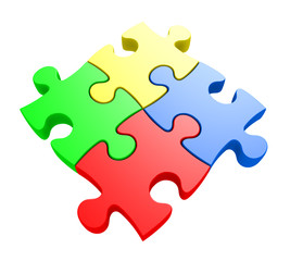 Problem solving concept of four jiwsaw puzzle pieces