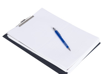 clipboard with paper and a pen