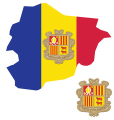 Flag and coat of arms of the Principality of Andorra