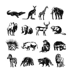 Animals vector black doodle outline icon set