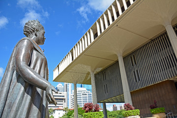 Queen Lili U'okalani and Hawaii State Capitol, Honolulu