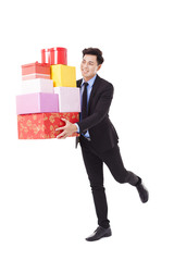 happy Business man hold with gift box