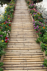 colorful flower with bamboo bridge