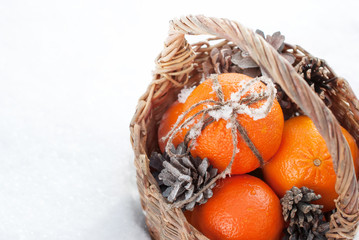 Christmas Oranges with Sticky Snow on Bow from Cord