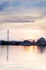 Beautiful Sunset in Maeklong River