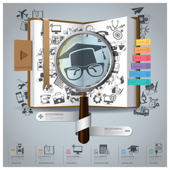 Education And Graduation Infographic With Magnifying Glass And B