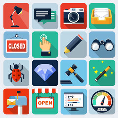 Square flat icons with long shadow, set 7