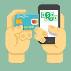 Vector flat online payment illustration