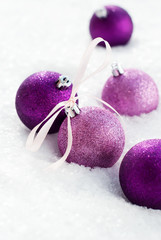 Christmas Card with Violet Balls and Ribbon