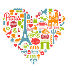 Paris France Icons Landmarks attractions heart shape