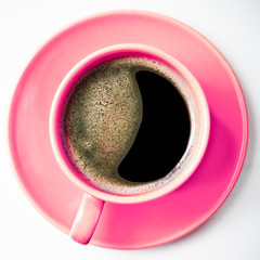 Coffee in pink cup