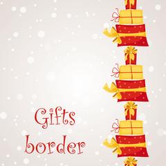 Gift boxes seamless border