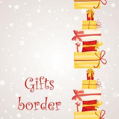 Gift boxes seamless border.