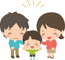 笑顔の若い家族