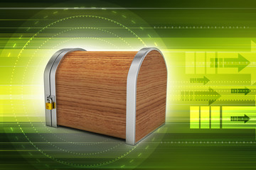 Closed wooden box with padlock