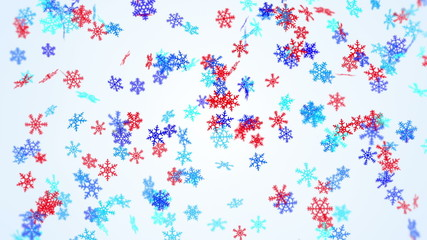 blue and red snowflakes falling seamless loop